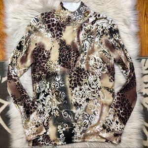 Cachè animal metallic lace print mock neck sweater